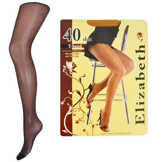 """""""Elizabeth"""" (40 den) с эластичным поясом T-BAND, 5 размер, чёрные"""